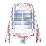 The Long-Sleeved Front Zip Swimsuit - Royal/Poppy