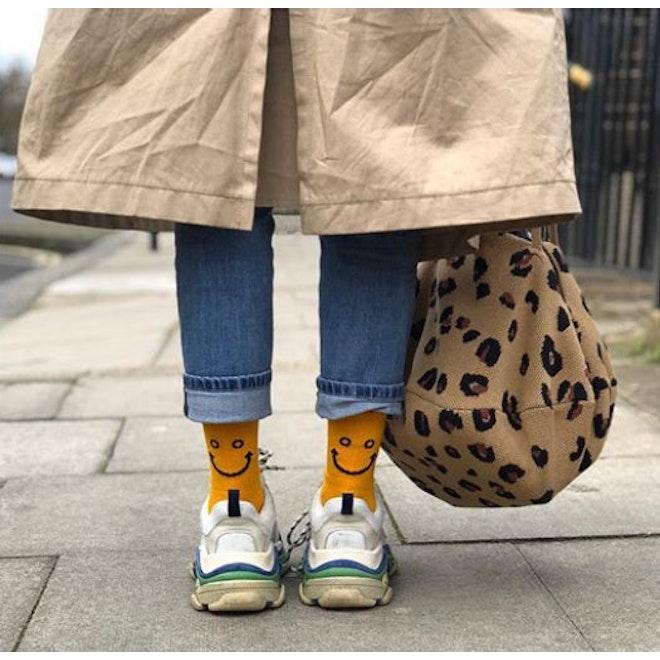 The Women's Line Smile Sock - Gold