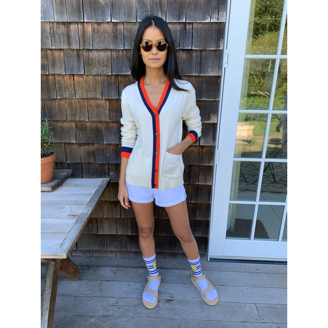 The Women's Wink Striped Sock - White