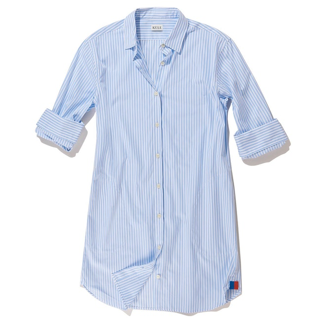 The Shirt Dress - White/Sky