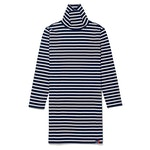 The Turtleneck Dress - Navy/Cream