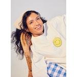 The Oversized Wink Face Sweatshirt - Cream