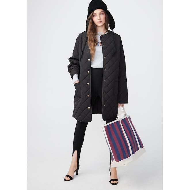 The All Over Striped Tote - Navy/Wine