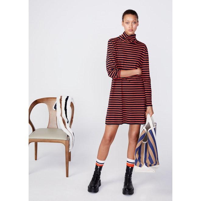 The Turtleneck Dress - Navy/Poppy