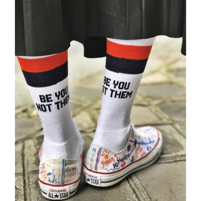 The Women's Be You Not Them Sock - White/Navy